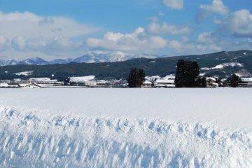 Winter view around Oyama; winter season is tough in Tohoku.