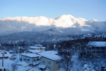 View from an upper floor over the Zao Onsen surroundings