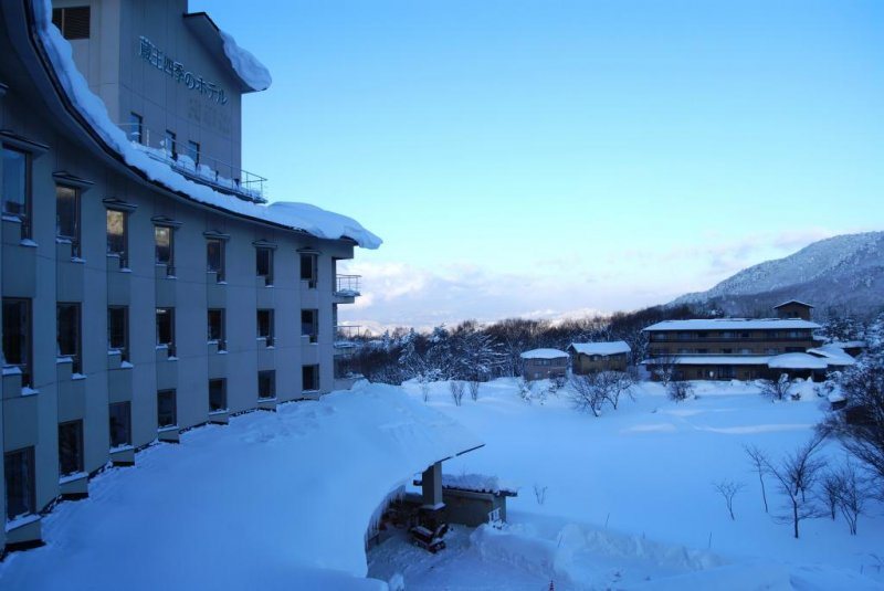 Front side of the hotel in early morning in February