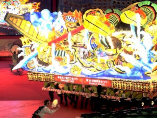 The Nebuta night, when the illuminated float occupies the main stage