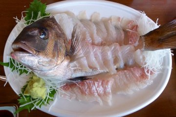 Two of us shared a full, raw sea bream