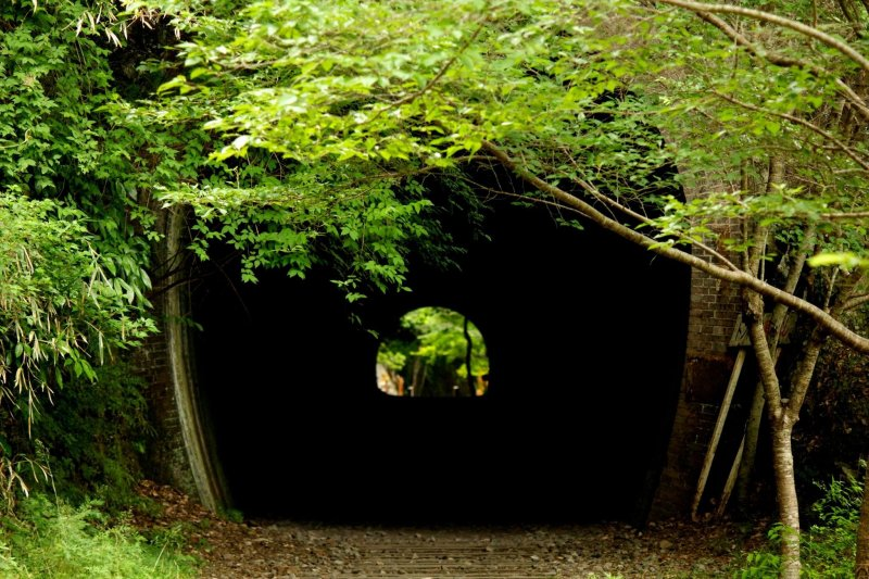 The mouth of the tunnel looks intimidating.