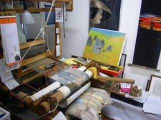 A glimpse into Mrs. Chonan's weaving studio