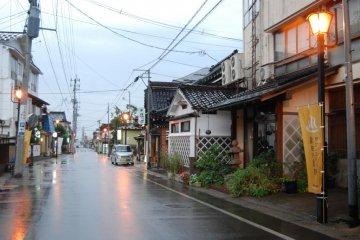 Main street of Yutagawa Onsen in summer