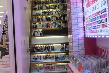 Staircase leading up to a K-pop merchandise store
