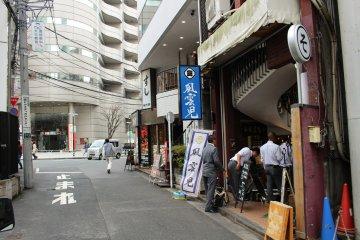 Outside the shop on an unassuming Shinjuku street.
