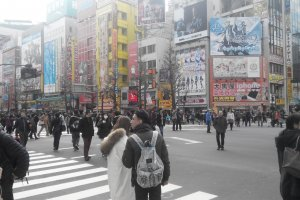 Many people go around Akihabara despite the cold weather.