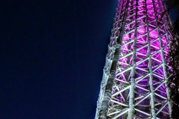 The skytree, ablaze with eye-catching pink in honour of Hanami season