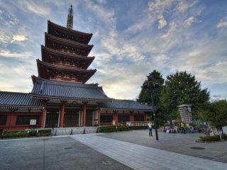 The beautiful Five Story Pagoda at Sensoji Temple