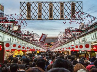 During festivities, the crowds on Nakamise Dori can become extremely difficult to maneuver