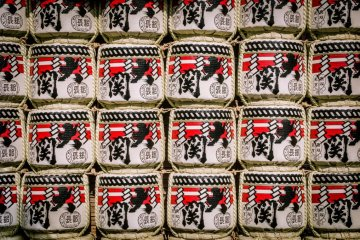 Decorative sake drums at Sensoji Temple during the Hagoita Market