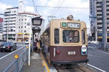 View of the tram at Hakushima Station, the end of the line in this suburb near Hiroshima JR station.