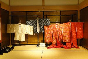 Kimono on display in the Wakuwaku-Za