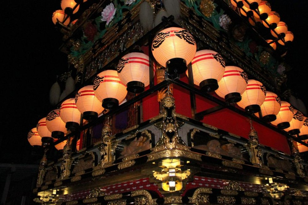 Detail of the ornate festival floatts on display