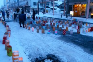 The streets of Takikawa shut down and filled with paper lanterns