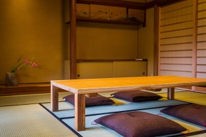 Sit on zabuton in the tatami room