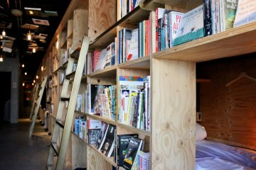 Close-up of the shelves