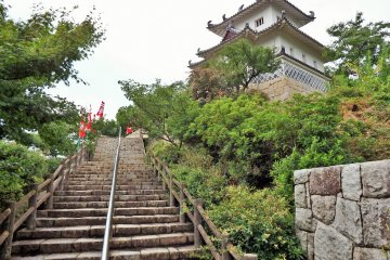 Visitors must climb a lengthy staircase to reach the castle