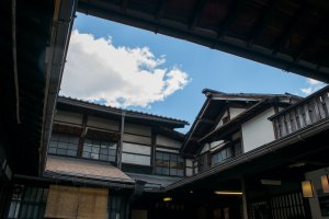 The courtyard of Kusakabe Mingei-kan, where visitors can enjoy a complimentary green tea.