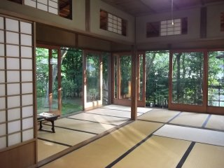 An elegant tatami room in the house