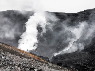 The main crater is famous for constantly venting its thick smoke