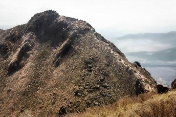 The razor thin peak of Nishi-Mine, (Mount Yufu's west peak)
