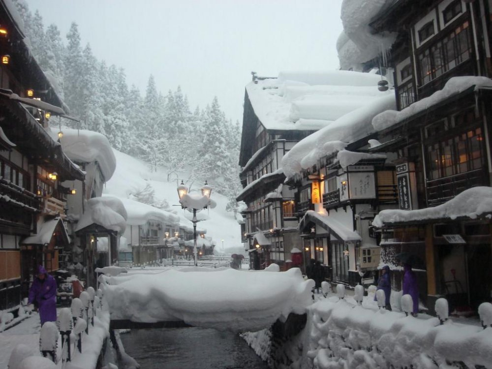 View of the main area of Ginzan Onsen