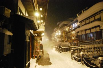 Strolling along the main streets of Ginzan Onsen at night