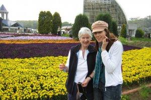 Mom and I and May flowers at Motegi Michi no Eki