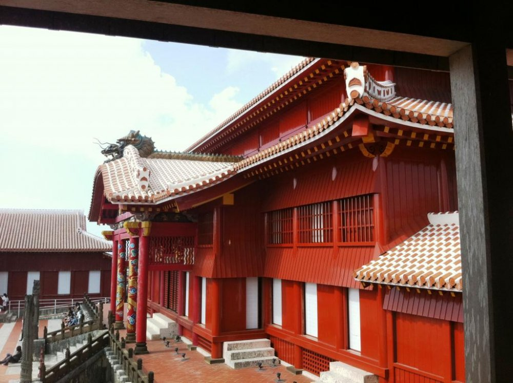 Inside the courtyard of Shuri Castle a world heritage site in Naha Okinawa