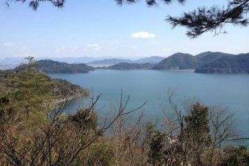 View of the coastline of Lake Biwa from Okishima