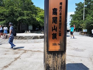 จุดสูงสุดของภูเขาทะคะโอะ ซึ่งมีความสูง 599 เมตรเหนือระดับน้ำทะเล