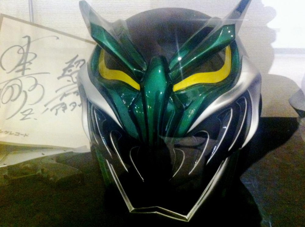Autographed Kamen Rider or Gundam Like Manga Cosplay Masks the size of Motorbike helmets at the Akita Design Hub and Handicraft Center