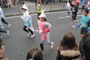 Bunny ears and rain gear