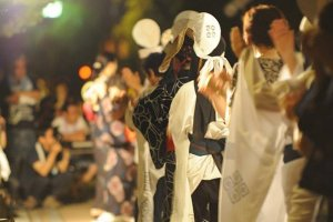 Line of Tsuwano dancers