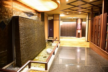 Hotel waterfall and decor