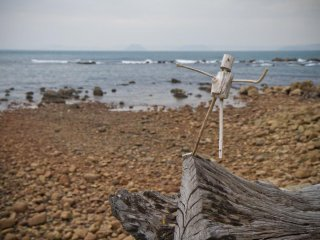 The beachfront views have ample seating and natural artwork