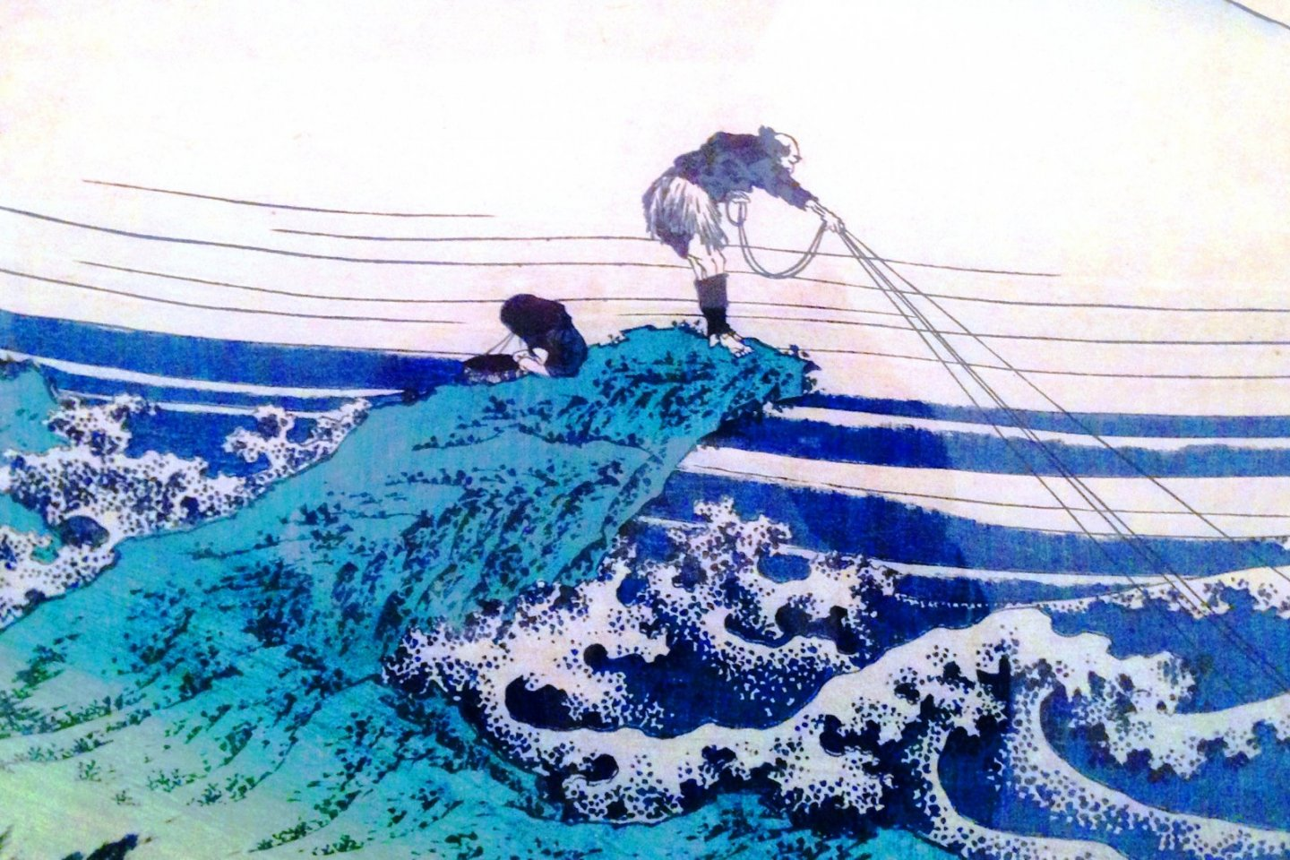 Hokusai\'s trademark - man against the elements