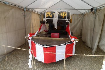 Boat on display during Sumiyoshi Festival