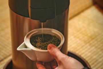 Adding water to the Kiyoka, Japanese green tea