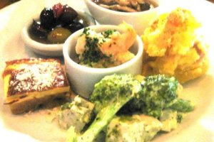 Olives and antipasto tasting plate at the Volta Bar and Bistro in Osaka