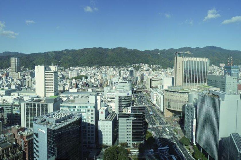Rokko mountain view from Kobe City Hall Observation Lobby