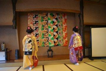 The maiko begin their dance