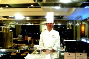 Chefs ready to cook to order at the Imperial Hotel Tokyo