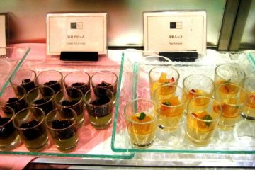 The best Green Tea Mousse and Pear Desserts at the Imperial Hotel Buffet in Hibiya Park Tokyo