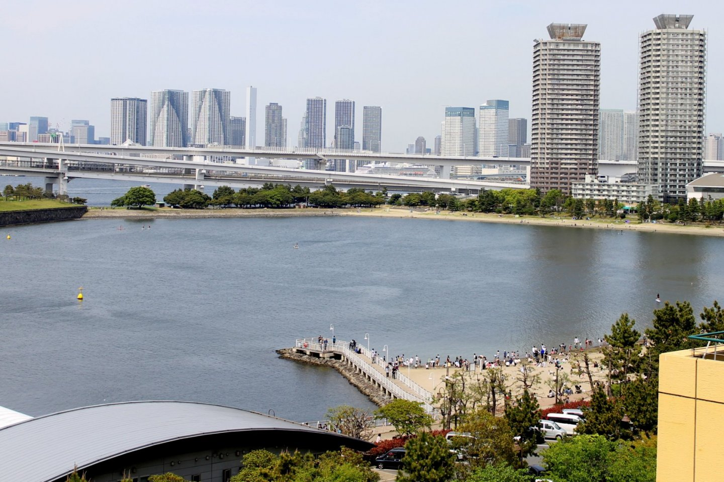 The picturesque view of the bay in Odaiba