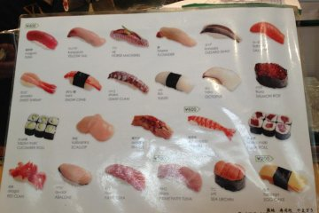 Menu showing the various pieces of sushi available