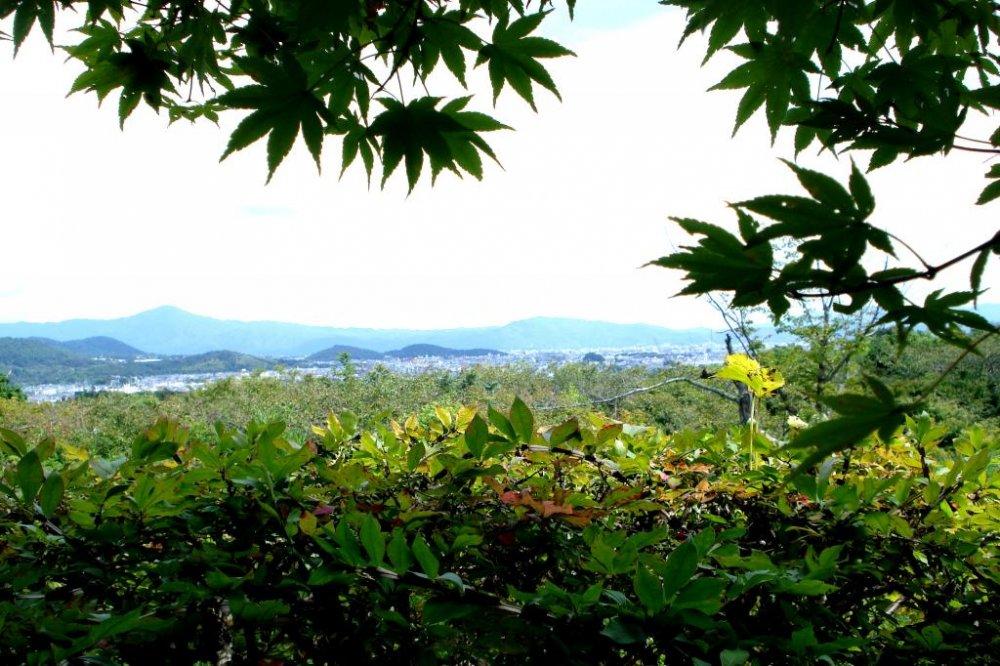 วิวพาโนราม่าของภูเขาอันงดงามที่มองจากโอะโคะจิ ซานโซะ วิลล่าของนักแสดงซามูไรในอะระชิยะมะ เกียวโต