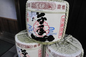 Sake in traditional barrels