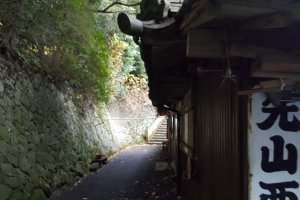 The narrow path leading to the temple